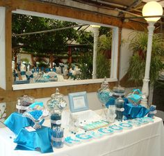 Ocean blue themed candy table  www.thefourthcourse.com