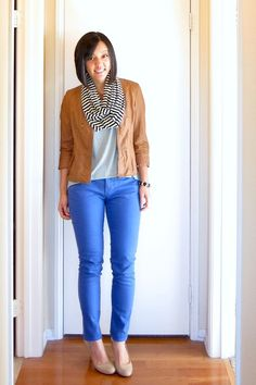 Putting Me Together: Tailor by Tom love the neutrals with the striped infinity scarf and the bright blue pants Bright Blue Pants, Blue Skinnies, Putting Me Together, Spring Outfits, Blue Outfits, Going Out Outfits, Weekend Wear, Faux Leather Jackets, Colored Jeans