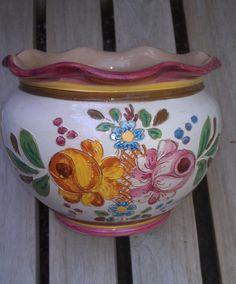 Round Ceramic Deruta Italy Vintage Flower Pot by LostTreasuresRUs
