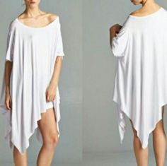 HP, BEST IN DRESSES  White Oversized DrapE Dress Trending White Oversized Drape Tunic Dress Dresses Mini