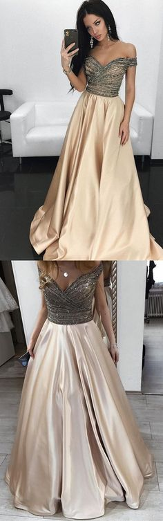 Champagne Prom Dresses,Off the Shoulder Prom Dresses,Satin Prom Dress,A Line Prom Gown,Long Evening Dresses,Formal Party Dress #champagne #offtheshoulder #pleats #aline #long #prom #okdresses