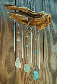 A driftwood and seaglass windchime :D - think I could do this; collection of driftwood is rather good...~=) #homemadeseaglass #fakeseaglassdiy