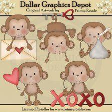 Valentine Monkeys - Clip Art