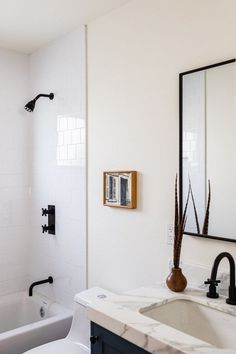 If you're looking for some serious wall art inspiration for your small bathroom design you've come to the right place. Ahead, we're sharing eight bathroom wall decor ideas that can transform your tiny space in a single afternoon. #hunkerhome #bathroomdecor #smallbathroom #bathroomwallart Bathroom Wall Decor, Bathroom Colors, White Bathroom, Small Bathroom, Bathroom Ideas, Modern Color Schemes, Outdoor Floor Cushions, Vintage Bathrooms, Unique Wall Decor