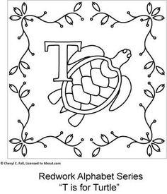 Free Redwork Alphabet Patterns O through U - Redwork Alphabet Embroidery Series Part 3, Page 7