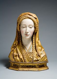 Reliquary Bust of a Female Saint. Early 16th century. Made in Brabant, South Netherlands. Oak, paint, gilt. MMoA, 1976.89.