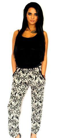 Cream & black tie dye print pants