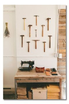 Man Cave/Male Office Wall Art - Hang a grouping of Antique Tools/Hammers on the Wall instead of art