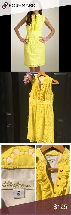 "Shoshanna Circle Eyelet Dress☀️ Gorgeous Shoshanna dress in size 2. Great condition, no stains, pulls, or holes. Perfect summery dress for a wedding or event! ☀️Details & Care Golden buttons dot the ruffled placket of a sleeveless eyelet dress, nicely shaped with an inset waist and a slim, pleated skirt. Side zip with hook-and-eye closure. Mandarin collar. Open neckline with decorative buttons. Approx. length from shoulder to hem: 37 1/4"". Fully lined. Cotton; dry clean. By Shoshanna; made…"