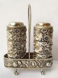 Antique Solid Sterling Silver Salt & Pepper Shaker Serving Set