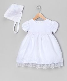 Another great find on #zulily! White Embroidered Christening Dress & Bonnet - Infant #zulilyfinds