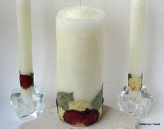Elegant Unity Candle Set Wedding Gift Decor Unique Candles Beeswax Rose By Marcie Forest