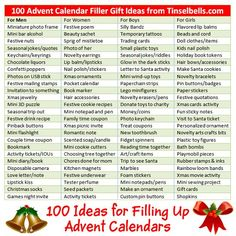 100 Advent Calendar Gift Ideas: Fillers for Men, Women and Kids. Quick cheat sheet of ideas for gift fillers what to fill Advent calendar with