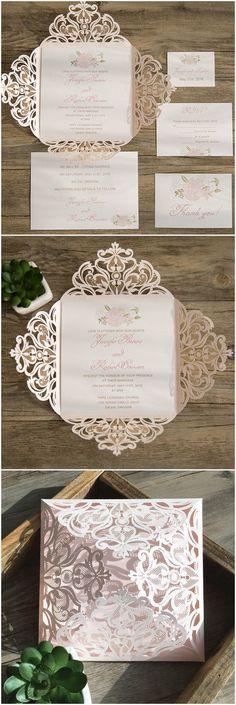 feminine blush pink laser cut wedding invitations 2016 trends EWWS077