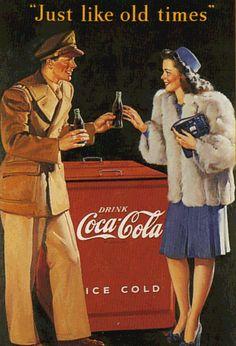 """Coca Cola World War II Gil Elvgren illustration for """"Just Like Old ..."""