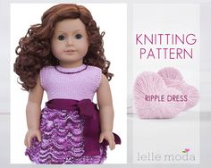 Knitting Pattern   fits American Girl Doll  18 inch by LelleModa
