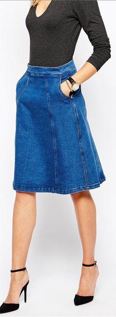 seamed denim skirt