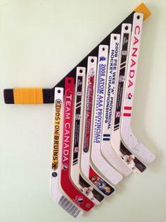 MiniSticky - mini stick holder for hockey themed room Boys Hockey Room, Hockey Bedroom, Hockey Mom, Hockey Stuff, Hockey Crafts, Hockey Decor, Boy Room, Kids Room, Hockey Party