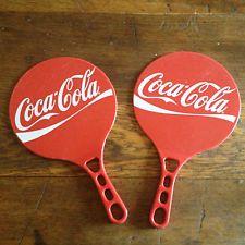 A unique pair of Retro Coca Cola promotional advertising paddle bats (80's-90's)
