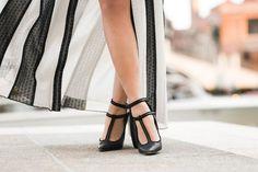 Venice :: Striped lace gown & Crossback pumps
