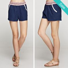 """""""Earned It"""" Shorts - MUST HAVEshorts for Spring! Linen solid shorts with trim detail. Elastic waistline and side pockets. Fits true to size, the model is shown wearing a small. - On Sale for $24.00 (was $28.00)"""