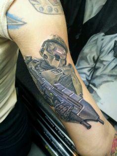 Photo realistic master chief tattoo halo tattoo