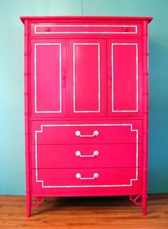 Nothing gets me more than faux bamboo furniture redone in neon, like this hot pink dresser! Colorful Furniture, Painted Furniture, Painted Armoire, Hot Pink Furniture, Painted Chest, My New Room, My Room, Girl Room, Furniture Makeover
