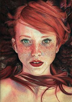 "Maja Topcagic: The Red Queen; Faber-Castell coloured pencils on paper. (Copyright, 2014). ""Spectacular drawing in coloured pencil, one of several in her portfolio."" http://pevansy.deviantart.com/art/The-Red-Queen-496112411"