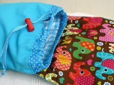 Sac à dos enfant fille maternelle, crèche,  tons turquoise et marron motifs éléphants colorés.