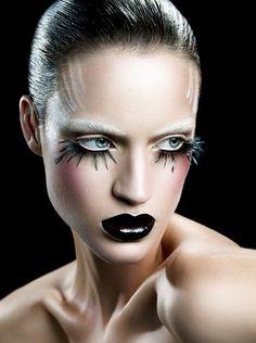 Halloween make-up - Christel Bangsgaard beauty series Contour Makeup, Makeup Art, Beauty Makeup, Eye Makeup, Glamorous Makeup, Dramatic Makeup, Dark Beauty, Black And White Makeup, Black Lips