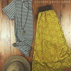 LuLaRoe mustard Lola and striped classic tee. Perfect for fall!