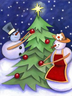 Snowman and Snowwoman Decorating Christmas Tree. Snowman and Snowwoman Decorating Christmas Tree - Premium Poster. Price: $24.99