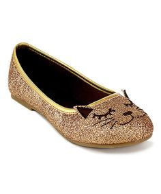 Another great find on #zulily! Jelly Beans Gold Glitter Mao Cat Flat by Jelly Beans #zulilyfinds