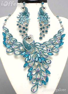 blue Swarovski crystal peacock necklace and earrings
