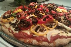 Spouted Spelt Pizza Crust (Wheat-Free) Recipe Use an organic sprouted grain flour.  Substitute Xylitol for honey and baking soda and arrowroot for baking powder.  Add home made sauce, dayia imitation cheese and lots of veggies.