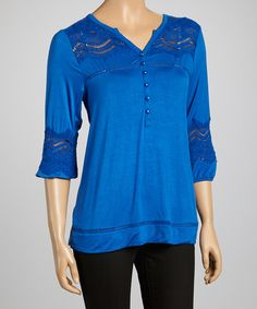 Look what I found on #zulily! Lapis Embellished Notch Neck Top by Simply Irresistible #zulilyfinds