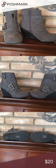Blowfish ankle boots, gray size 7 Gently worn gray, wedged, buckled ankle boots by Blowfish 7 Blowfish Shoes Ankle Boots & Booties