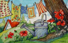Red Roof Cottage Series: Laundry on the Clothes line - Alida Akers Cute Cottage, Cottage Art, Art And Illustration, Art Corde, Watercolor Paintings, Original Paintings, Laundry Art, Storybook Cottage, Red Roof