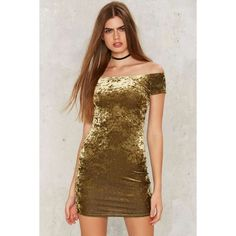 After Party by Nasty Gal Crushing Hard Velvet Dress ($68) ❤ liked on Polyvore featuring dresses, green, green mini dress, off the shoulder cocktail dress, off shoulder bodycon dress, vintage mini dress and bodycon mini dress