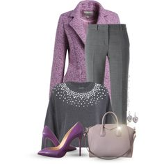 Purple for the Office by oribeauty-cosmeticos on Polyvore featuring MICHAEL Michael Kors, DKNY, Christian Louboutin, Givenchy and Lucky Brand