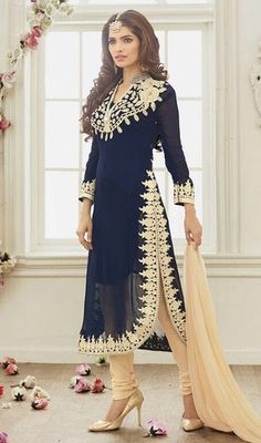 Every color talks about your mood and reflects your personality, so drape into this navy blue color georgette embroidered churidar suit. The ethnic lace and resham work in the attire adds a sign of elegance statement with a look. #marvelousworkdresses #applecutsalwarsuit #eveningsalwarkameez