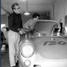 "James Dean (with friend / mechanic Rolf) and his 1955 Silver Porsche 550 Spyder - ""Little Bastard"" Porsche 550 Spyder, Volkswagen, East Of Eden, Actor James, Le Mans, Belle Photo, Movie Stars, Classic Cars, Porsche Classic"