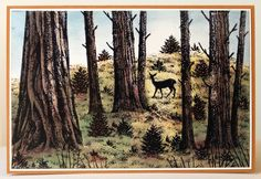 Doe in fall forest by Anna-Karin (A-K), via Flickr...need these tree trunks stamp