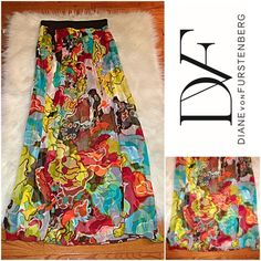 "Diane Von Furstenberg 100% Silk Maxi Skirt SZ.10 Diane Von Furstenberg 100% Silk Maxi Skirt SZ.10 - Like-new condition; no signs of wear - Approx. Measurements - Length-48"" / Wait-16"" / Fully lined; Elastic Waist Diane von Furstenberg Skirts Maxi"
