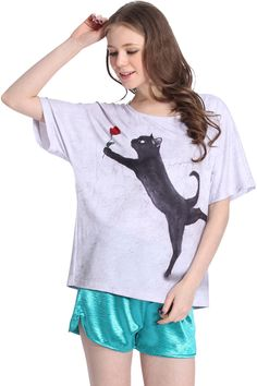 ROMWE | ROMWE Lovey-dovey Cat Print Short-sleeved Gray T-shirt, The Latest Street Fashion