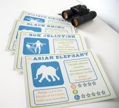 Endangered Animals Party Invitations. Pack of 10. Elephant Poo or Rhino Poo Card!