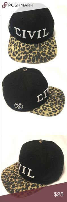 Civil SnapBack Baseball Hat Civil clothing black leopard SnapBack civil clothing Accessories Hats