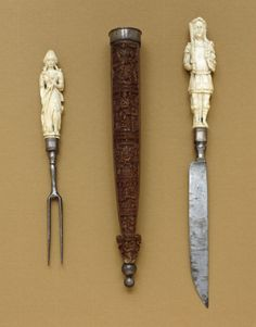 Knife-and-Fork Set with Mars and Diana, ivory and iron 1650-1690.