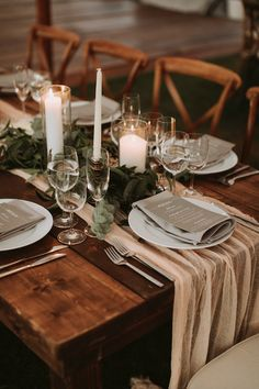 Florals by Whimsy Weddings. Photo by Salt Water Studios. Farm Table Wedding, Wedding Table Decorations, Wedding Table Settings, Table Centerpieces, Wedding Centerpieces, Wedding Table Runners, Farm Tables, Wedding Table Arrangements, Farm Table Decor