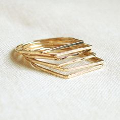 Set of Six Solid 14k Rose Yellow or White Gold - Set of Six Square Top Threads of Gold - Tiny Hammered Stacking Rings - Delicate Jewelry